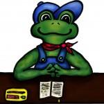 Frosch am Tisch